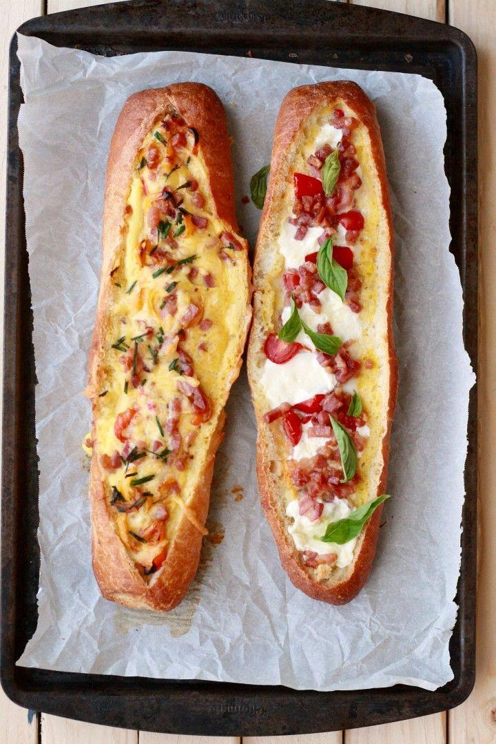 """<p>These stuffed baguettes are basically the lazy girl's answer to the strata — no slicing, no layering, just delicious.</p><p><a href=""""http://thekitchenarium.com/baked-egg-boats/"""" rel=""""nofollow noopener"""" target=""""_blank"""" data-ylk=""""slk:Get the recipe from The Kitchenarium »"""" class=""""link rapid-noclick-resp""""><em>Get the recipe from The Kitchenarium »</em></a></p>"""