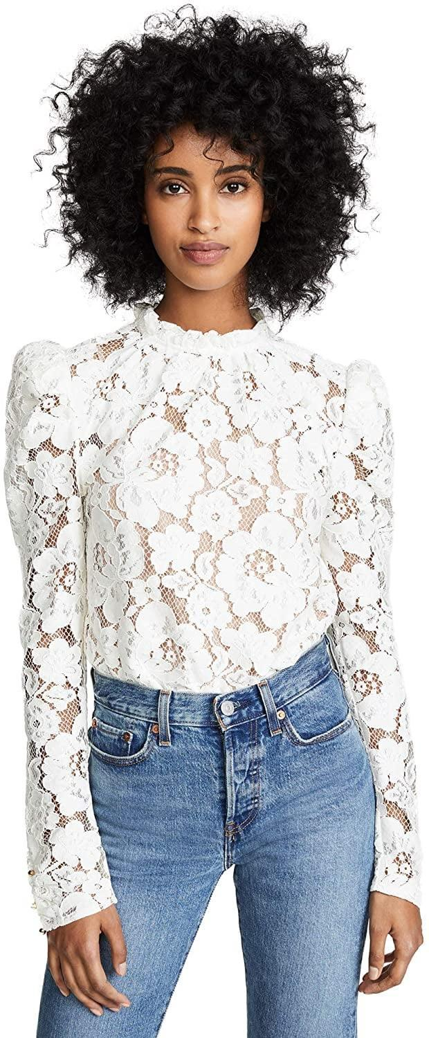 <p>This <span>WAYF Lace Top</span> ($89) is a customer favorite.</p>