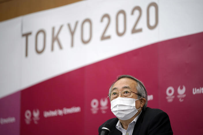 Kawasaki City Institute for Public Health Director General Nobuhiko Okabe speaks during a press conference after a roundtable on COVID-19 countermeasures at Tokyo 2020 Games in Tokyo, Friday, June 11, 2021. A group of experts participated in a third roundtable on COVID-19 countermeasures proposed for audience-related infection control. (Franck Robichon/Pool Photo via AP)