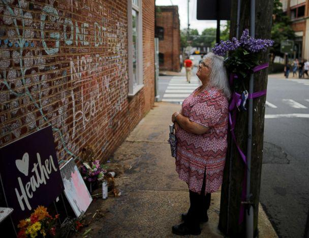 PHOTO: Susan Bro, mother of Heather Heyer, who was killed during the August 2017 white nationalist rally in Charlottesville, stands at the memorial at the site where her daughter was killed in Charlottesville, Virginia, July 31, 2018. (Brian Snyder/Reuters)