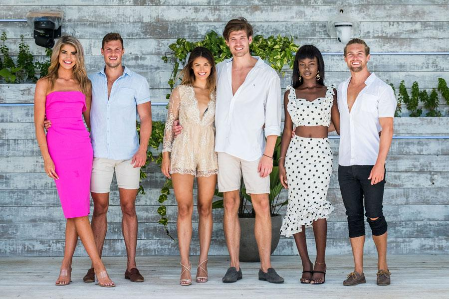 A photo of the final three couples in Love Island Australia season two (from left) Anna McEvoy and Josh Packham, Cartiér Surjan and Matthew Zukowski and Cynthia Taylu and Aaron Shaw.