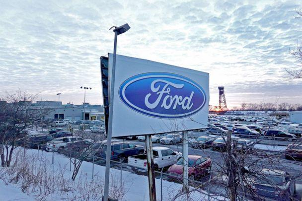 PHOTO: The Ford company logo is displayed on a sign outside of the Chicago Assembly Plant on Feb. 3, 2021 in Chicago. Ford has cut production from three shifts to one as an ongoing microchip shortage continues to take a toll on the auto industry. (Scott Olson/Getty Images, FILE)