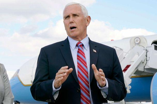 PHOTO: Vice President Mike Pence speaks to members of the media at Andrews Air Force Base, Md., Oct. 5, 2020. (Jacquelyn Martin/AP)