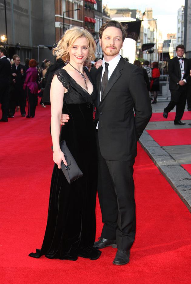 Anne-Marie Duff and James McAvoy stayed close on the red carpet / WENN