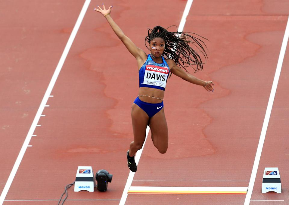 <p>Tara Davis of The USA in action during qualifying for the women's long jump on day three of The IAAF World U20 Championships on July 12, 2018 in Tampere, Finland. (Photo by Stephen Pond/Getty Images for IAAF)</p>