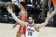 Illinois's Giorgi Bezhanishvili reacts after hitting a shot and getting fouled during the second half of an NCAA college basketball championship game against Ohio State at the Big Ten Conference tournament, Sunday, March 14, 2021, in Indianapolis. (AP Photo/Darron Cummings)