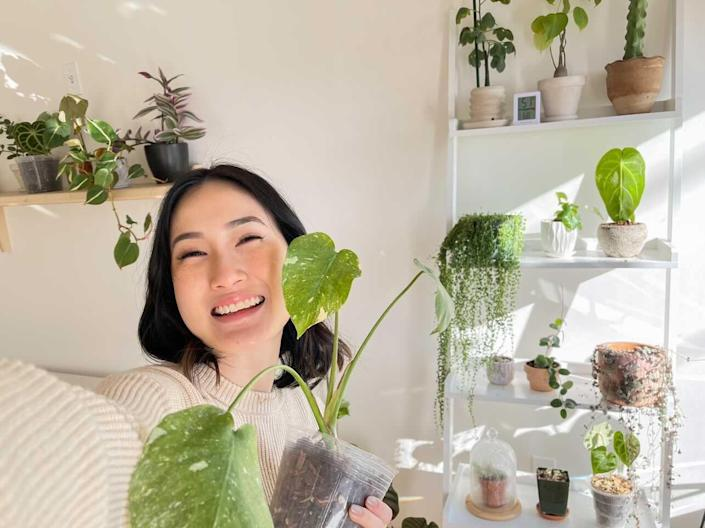 Amanda Lim with her plants at a sunny window