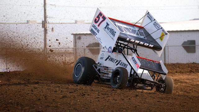 <em>Kyle Laron's No. 57 triumphed for the fourth time this season Tuesday in the World of Outlaws NOS Energy Sprint Car Series (Trent Gower/World of Outlaws).</em>