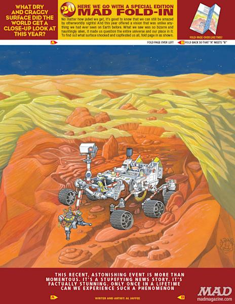 NASA's Mars rover Curiosity appears in the fold-in feature of MAD magazine's 2012 year-end issue, out Dec. 18.