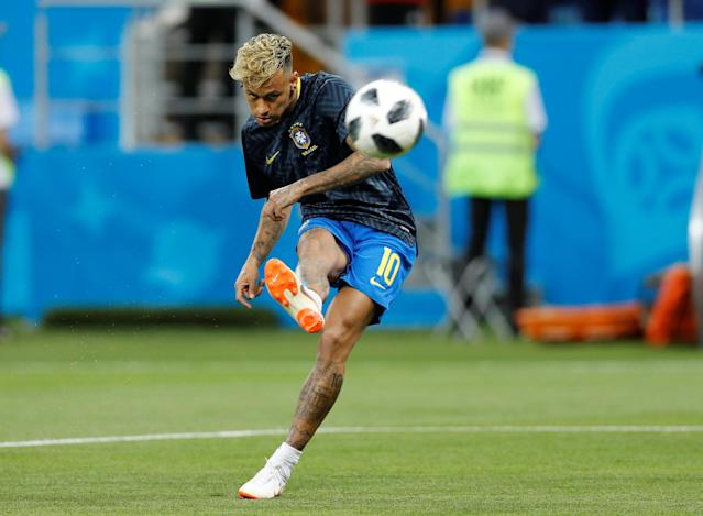 Soccer Football - World Cup - Group E - Brazil vs Switzerland - Rostov Arena, Rostov-on-Don, Russia - June 17, 2018 Brazil's Neymar during the warm up before the match REUTERS/Darren Staples