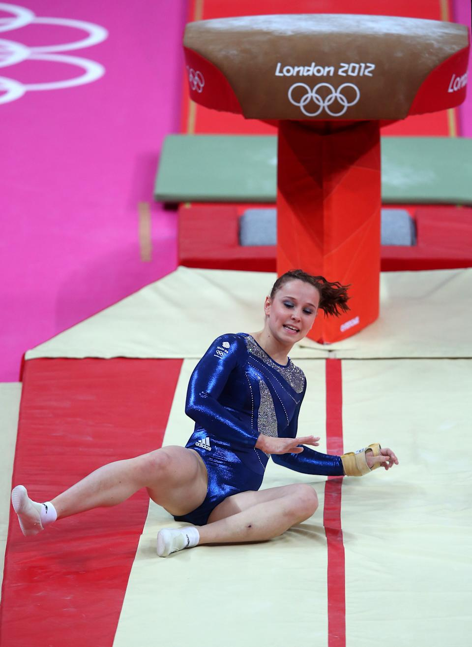 Hannah Whelan of Great Britain falls on her landing on the vault in the Artistic Gymnastics Women's Individual All-Around final on Day 6 of the London 2012 Olympic Games at North Greenwich Arena on August 2, 2012 in London, England. (Photo by Julian Finney/Getty Images)