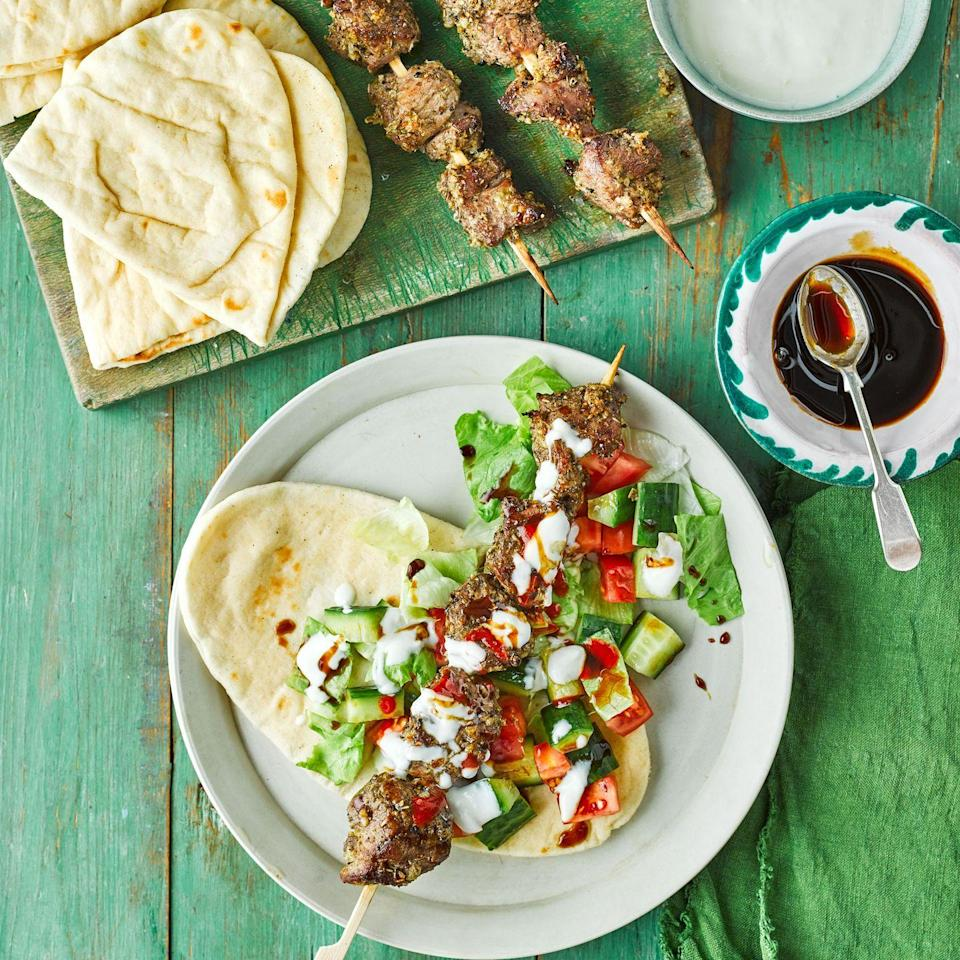 """<p>If you are not a fan of lamb, use chicken thigh fillets instead. Grill until the meat is cooked through.<strong><br></strong></p><p><strong>Recipe: <a href=""""https://www.goodhousekeeping.com/uk/food/recipes/a32052222/lamb-shish-kebab/"""" rel=""""nofollow noopener"""" target=""""_blank"""" data-ylk=""""slk:Lamb Shish Kebab"""" class=""""link rapid-noclick-resp"""">Lamb Shish Kebab</a></strong></p>"""