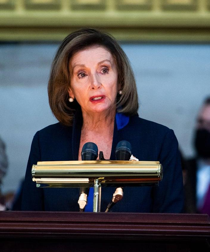 WASHINGTON, DC – APRIL 13: Speaker of the House Nancy Pelosi (D-CA) speaks during the service for U.S. Capitol Officer William Evans as his remains lie in honor in the U.S. Capitol rotunda on April 13, 2021 in Washington, DC. Officer Evans, who was killed in the line of duty during the attack outside the U.S. Capitol on April 2, will lie in honor in the Capitol rotunda today. (Photo by Tom Williams-Pool/Getty Images)