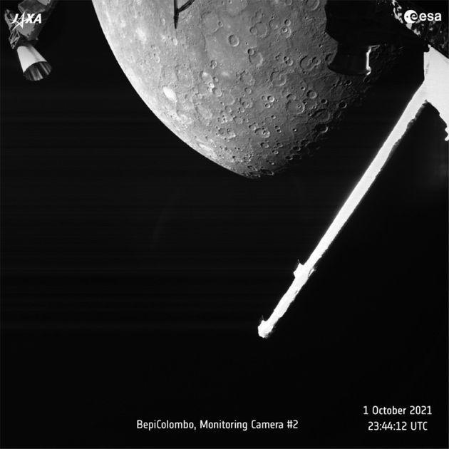 A handout picture made available by the European Space Agency (ESA) shows a view of Mercury captured by the joint European-Japanese BepiColombo mission on 01 October 2021 (Photo: ESA EPA)