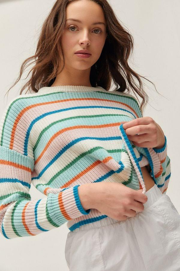 "<p>Add some color to your closet with this <a href=""https://www.popsugar.com/buy/UO-Andi-Intarsia-Knit-Crew-Neck-Sweater-483386?p_name=UO%20Andi%20Intarsia%20Knit%20Crew%20Neck%20Sweater&retailer=urbanoutfitters.com&pid=483386&price=59&evar1=fab%3Auk&evar9=46530759&evar98=https%3A%2F%2Fwww.popsugar.com%2Ffashion%2Fphoto-gallery%2F46530759%2Fimage%2F46530876%2FUO-Andi-Intarsia-Knit-Crew-Neck-Sweater&list1=shopping%2Cfall%20fashion%2Curban%20outfitters%2Cfall&prop13=api&pdata=1"" rel=""nofollow"" data-shoppable-link=""1"" target=""_blank"" class=""ga-track"" data-ga-category=""Related"" data-ga-label=""https://www.urbanoutfitters.com/shop/uo-andi-intarsia-knit-crew-neck-sweater?category=womens-tops&amp;color=095&amp;type=REGULAR"" data-ga-action=""In-Line Links"">UO Andi Intarsia Knit Crew Neck Sweater</a> ($59).</p>"