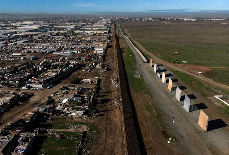 Am aerial view of US President Donald Trump's border wall prototypes seen from Tijuana, Mexico, before their demolition