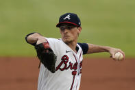 Atlanta Braves starting pitcher Max Fried (54) works against the New York Mets in the second inning of a baseball game Monday, May 17, 2021, in Atlanta. (AP Photo/John Bazemore)