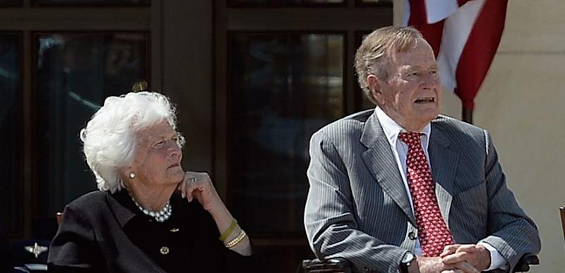 Former First Lady Barbara Bush and President George HW Bush at the George W. Bush Presidential Center opening ceremony