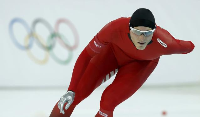 Havard Bokko of Norway competes in the men's 5000 meters speed skating race during the 2014 Sochi Winter Olympics, February 8, 2014. REUTERS/Phil Noble (RUSSIA - Tags: OLYMPICS SPORT SPEED SKATING)