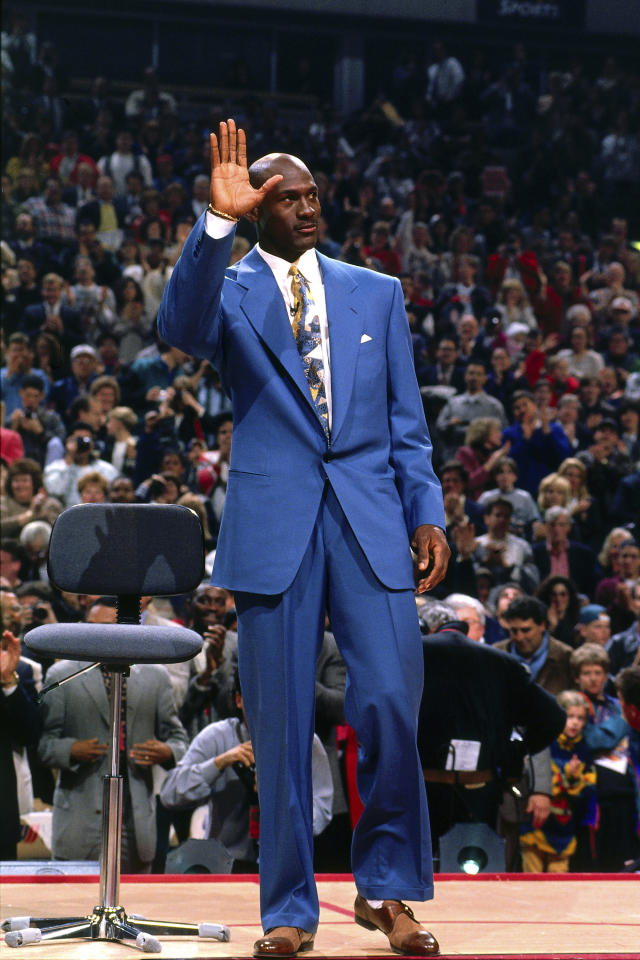 Michael Jordan waves to the crowd during his jersey retirement on November 1, 1994 at the United Center in Chicago, Illinois. (Photo by Nathaniel S. Butler/NBAE via Getty Images)