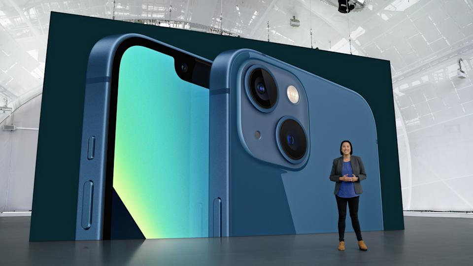 Apple's Kaiann Drance showcasing the new iPhone 13 during the Apple Special Event at Apple Park in Cupertino, California. Source: EPA via AAP