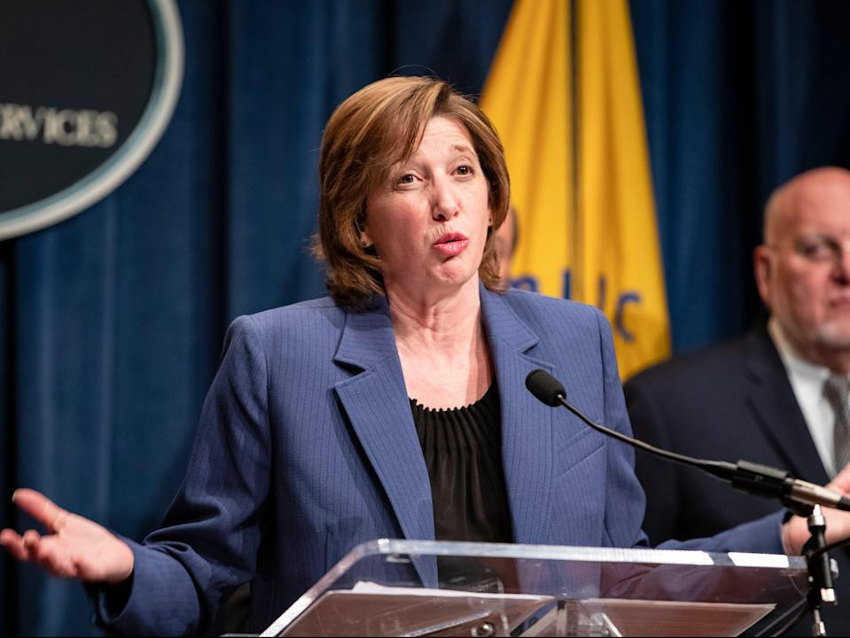National Center for Immunization and Respiratory Diseases Director Nancy Messonnier speaks during a press conference today at the Department of Health and Human Services (Getty Images)