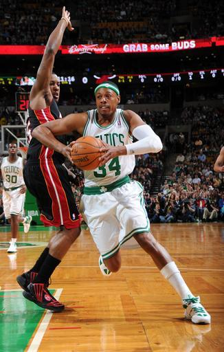 BOSTON, MA - APRIL 24: Paul Pierce #34 of the Boston Celtics with the ball against the Miami Heat on April 24, 2012 at the TD Garden in Boston, Massachusetts. (Photo by Brian Babineau/NBAE via Getty Images)