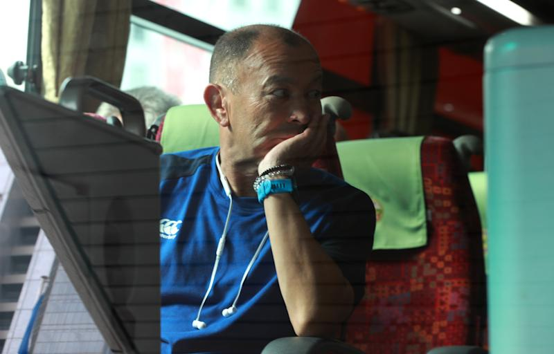 TOKYO, JAPAN - OCTOBER 10: Eddie Jones, the England head coach sits on the team bus after the announcement of the cancellation of their match against France on October 10, 2019 in Tokyo, Japan. (Photo by David Rogers/Getty Images)
