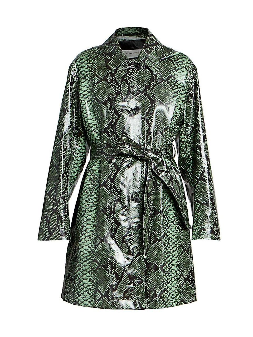"<p><strong>Dries Van Noten</strong></p><p>saksfifthavenue.com</p><p><strong>$1845.00</strong></p><p><a href=""https://go.redirectingat.com?id=74968X1596630&url=https%3A%2F%2Fwww.saksfifthavenue.com%2Fproduct%2Fdries-van-noten-snakeskin-print-patent-belted-trench-coat-0400012849844.html%3Fdwvar_0400012849844_color%3DGREEN&sref=https%3A%2F%2Fwww.townandcountrymag.com%2Fstyle%2Ffashion-trends%2Fg35229634%2Fbarneys-at-saks-launch%2F"" rel=""nofollow noopener"" target=""_blank"" data-ylk=""slk:Shop Now"" class=""link rapid-noclick-resp"">Shop Now</a></p>"