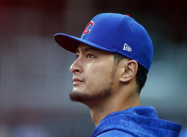 Chicago Cubs' Yu Darvish watches from the dugout during the first inning of the team's baseball game against the Atlanta Braves on Wednesday, May 16, 2018, in Atlanta. (AP Photo/John Bazemore)