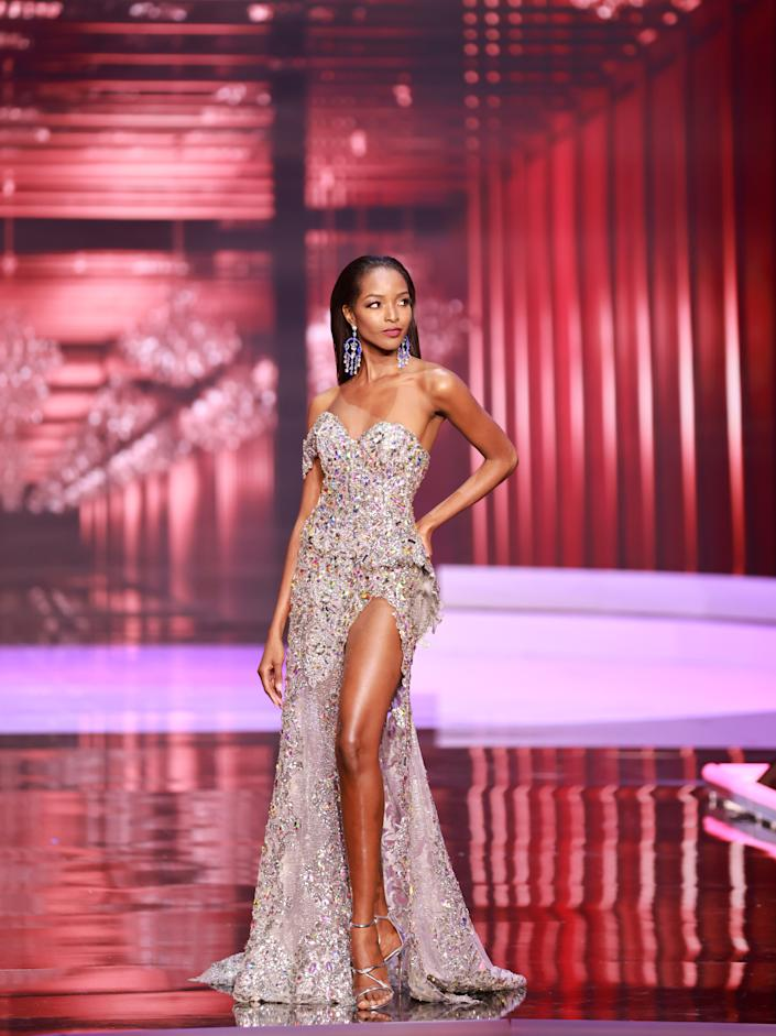 <p>Miqueal-Symone Williams, Miss Universe Jamaica 2020 competes on stage as a Top 10 finalist in an evening gown of her choice during the 69th Miss Universe Competition on May 16, 2021 at the Seminole Hard Rock Hotel & Casino in Hollywood, Florida airing LIVE on FYI and Telemundo. Contestants from around the globe have spent the last few weeks touring, filming, rehearsing and preparing to compete for the Miss Universe crown. .(PHOTO: Miss Universe)</p>