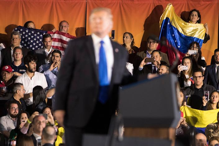 "Donald Trump has ramped up his ""socialism"" attacks over the last two years, as he's tried to oust Venezuelan President Nicolás Maduro — an effort many observers regard as a cynical ploy to target Cuban and Venezuelan American voters in Florida in the 2020 election. (Photo: AP Photo/Andrew Harnik)"