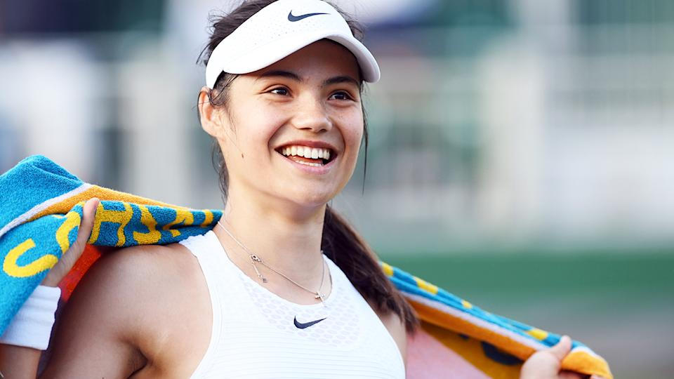 Emma Raducanu, pictured here smiling as she walks off court at Wimbledon.