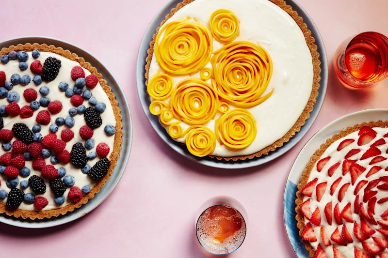 "<p>A nutty cookie crust filled with lemon curd–spiked whipped cream makes a delectable base for a pile of red and blue berries, or a firework-like strawberry starburst.</p><p><a rel=""nofollow"" href=""http://www.epicurious.com/recipes/food/views/easy-fruit-tart-with-pecan-cookie-crust?mbid=synd_yahoofood"">Get this recipe</a></p>"