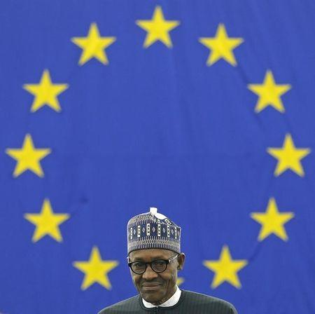 Nigeria's President Buhari arrives to address the European Parliament in Strasbourg