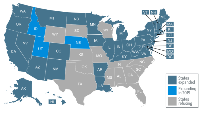 There are 14 states that have refused to expand Medicaid. (Photo: screenshot/HealthInsurance.org)