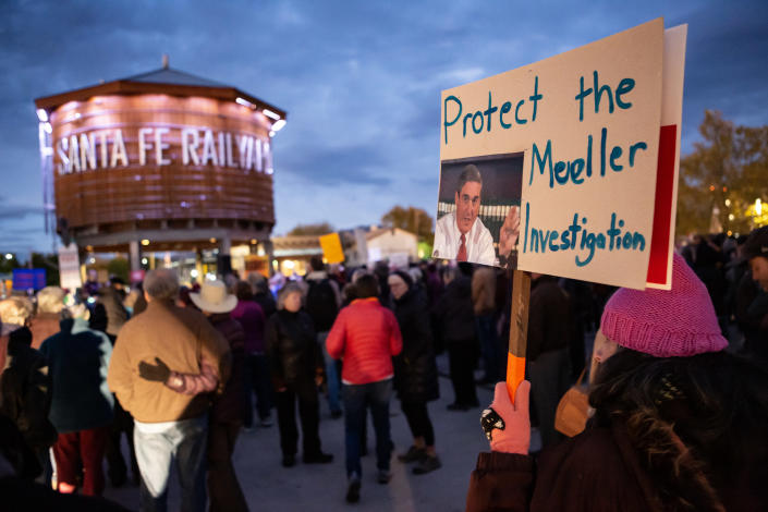 <p>Hundreds of protesters rally in Santa Fe, N.M., on Nov. 8, 2018, calling on American political leaders to protect special counsel Robert Mueller's probe into possible Russian interference in the 2016 presidential election won by President Trump. (Photo: Mati Milstein/NurPhoto via Getty Images) </p>