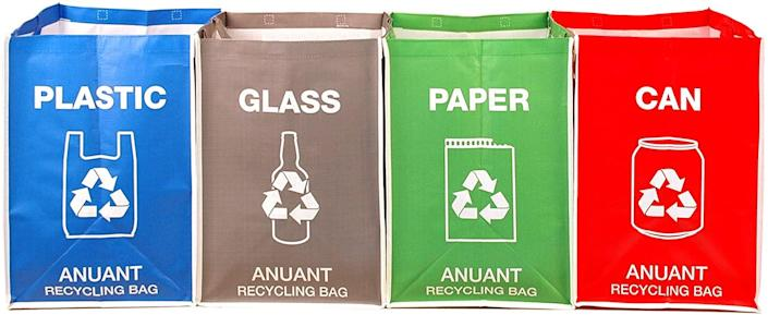 """Help support a healthy environment with bags that neatly sort your recycling. These collapsible organizing bags by Anuant allow you to divvy up your plastic, glass, paper, and cans to make trips to the recycling center easier. $24, Amazon. <a href=""""https://www.amazon.com/dp/B0777HN5TK/ref=dp_prsubs_1"""" rel=""""nofollow noopener"""" target=""""_blank"""" data-ylk=""""slk:Get it now!"""" class=""""link rapid-noclick-resp"""">Get it now!</a>"""