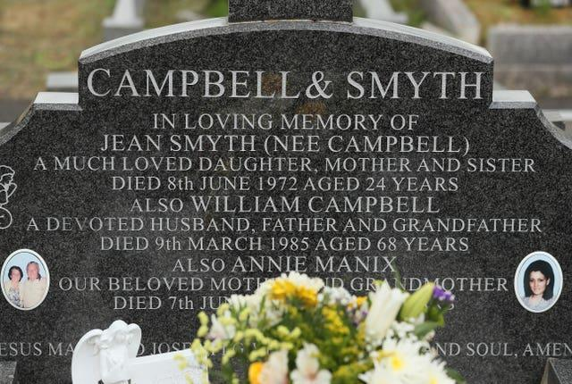 The headstone of Jean Smyth-Campbell in Milltown cemetery in Belfast ahead of a fresh independent investigation into the murder of the young mother (Brian Lawless/PA)