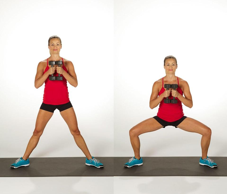 <ul> <li>Stand with your feet wide and your toes pointing out, holding both dumbbells in front of your chest.</li> <li>Bend your knees, lowering your hips deeply so your thighs are parallel with the floor. Make sure to keep your weight back in your heels.</li> <li>Rise back up, straightening the legs completely and squeezing the glutes at the top of the movement to get the most from the exercise.</li> <li>This completes one rep.</li> </ul>