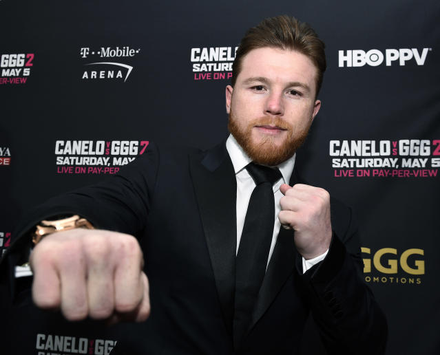 Boxer Canelo Alvarez was temporarily suspended Friday for two separate drug test failures, putting his May 5 bout in Las Vegas with Gennady Golovkin in jeopardy. (Getty Images)