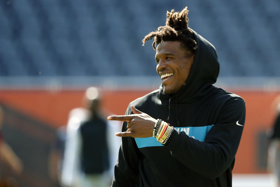 Former Carolina Panthers quarterback Cam Newton is looking for a new team. (AP Photo/Charles Rex Arbogast)