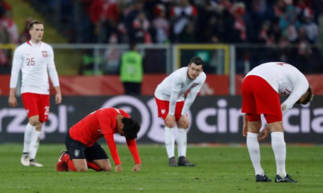 Soccer Football - International Friendly - Poland vs South Korea - Silesian Stadium, Chorzow, Poland - March 27, 2018 South Korea's Jung Woo-Young looks dejected after the match REUTERS/Kacper Pempel