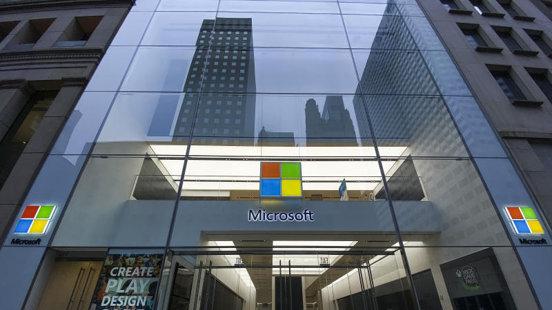 NEW YORK, NY - APRIL 30: The Microsoft store is seen on April 30, 2020 in New York City. The company said the effects of the coronavirus may not be fully understood until future periods but it has seen an increase in the Cloud business as more people work from home. (Photo by Eduardo MunozAlvarez/VIEWpress via Getty Images)
