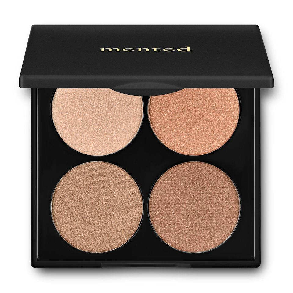 "<p><strong>mented cosmetics</strong></p><p>mentedcosmetics.com</p><p><strong>$30.00</strong></p><p><a href=""https://www.mentedcosmetics.com/products/highlighter-palette"" rel=""nofollow noopener"" target=""_blank"" data-ylk=""slk:Shop Now"" class=""link rapid-noclick-resp"">Shop Now</a></p><p>A shimmery highlighter is an instant mood-lifter. Mented Cosmetics's palette features four buildable shades suitable for all skintones.</p>"