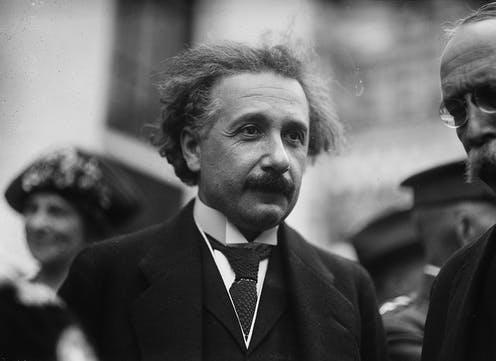 "<span class=""caption"">Albert Einstein photographed on a trip to America in the wake of his Nobel prize-winning discoveries.</span> <span class=""attribution""><a class=""link rapid-noclick-resp"" href=""https://picryl.com/media/albert-einstein-washington-dc"" rel=""nofollow noopener"" target=""_blank"" data-ylk=""slk:Harris & Ewing/PICRYL"">Harris & Ewing/PICRYL</a></span>"