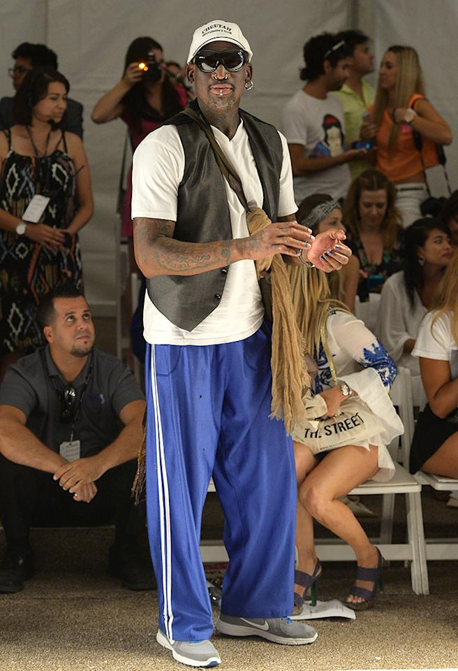 MIAMI, FL - JULY 22:  Dennis Rodman attends Anna Kosturova/Beach Riot/Lolli Swim/Manglar/Indah show at Mercedes-Benz Fashion Week Swim 2014 at Cabana Grande at the Raleigh on July 22, 2013 in Miami, Florida.  (Photo by Gustavo Caballero/Getty Images for Mercedes-Benz Fashion Week Swim 2014)