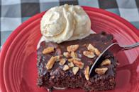 "<p>You can absolutely find a wonderful chocolate cake in any of <a href=""https://www.thedailymeal.com/best-dessert-shop-place-america-every-state?referrer=yahoo&category=beauty_food&include_utm=1&utm_medium=referral&utm_source=yahoo&utm_campaign=feed"" rel=""nofollow noopener"" target=""_blank"" data-ylk=""slk:America's sweetest dessert shops"" class=""link rapid-noclick-resp"">America's sweetest dessert shops</a>, but there are few things more special than making your own, especially for a loved one. This <a href=""https://www.thedailymeal.com/recipes/texas-sheet-cake?referrer=yahoo&category=beauty_food&include_utm=1&utm_medium=referral&utm_source=yahoo&utm_campaign=feed"" rel=""nofollow noopener"" target=""_blank"" data-ylk=""slk:Texas sheet cake"" class=""link rapid-noclick-resp"">Texas sheet cake</a> comes together with ingredients you probably already have in your pantry, and because it's a sheet, a swirly schmear of chocolate frosting is all you need to decorate. </p> <p><a href=""https://www.thedailymeal.com/recipes/texas-sheet-cake?referrer=yahoo&category=beauty_food&include_utm=1&utm_medium=referral&utm_source=yahoo&utm_campaign=feed"" rel=""nofollow noopener"" target=""_blank"" data-ylk=""slk:For the Texas Chocolate Sheet Cake recipe, click here"" class=""link rapid-noclick-resp"">For the Texas Chocolate Sheet Cake recipe, click here</a>.</p>"