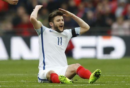 Britain Football Soccer - England v Lithuania - 2018 World Cup Qualifying European Zone - Group F - Wembley Stadium, London, England - 26/3/17 England's Adam Lallana reacts after being fouled Action Images via Reuters / Carl Recine Livepic