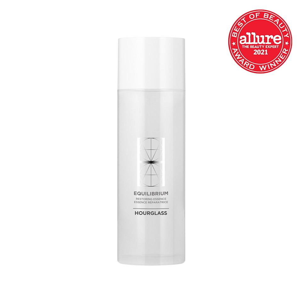 """Replete with lipids, <strong>Hourglass Cosmetics Equilibrium Restoring Essence</strong> <a href=""""https://www.allure.com/story/what-is-toner?mbid=synd_yahoo_rss"""" rel=""""nofollow noopener"""" target=""""_blank"""" data-ylk=""""slk:restores the skin barrier"""" class=""""link rapid-noclick-resp"""">restores the skin barrier</a> that some cleansing surfactants can strip away, helping off-kilter skin regain balance and on-kilter skin keep its composure."""